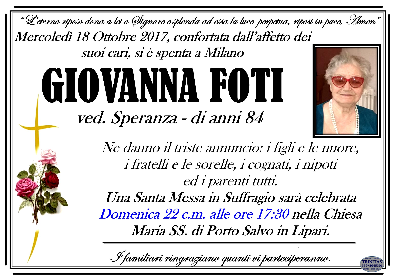 Milano, è deceduta la signora Giovanna Foti